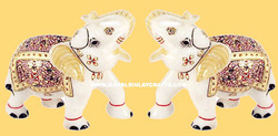 Gold Painted Meena Elephant