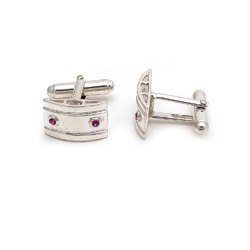 Silver Natural Ruby Gemstone Mens Cufflinks