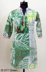 IS 01T Green Cotton Kurtis