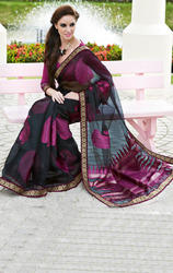 Black+%26+Rusty+Magenta+Color+Tissue+Brasso+Saree+with+Blouse