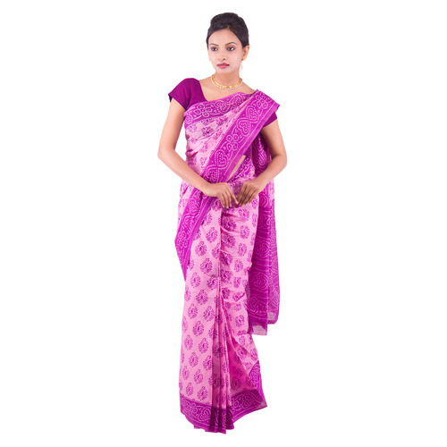 Ethnic Traditional Bandhani Print Cotton Saree with Blouse