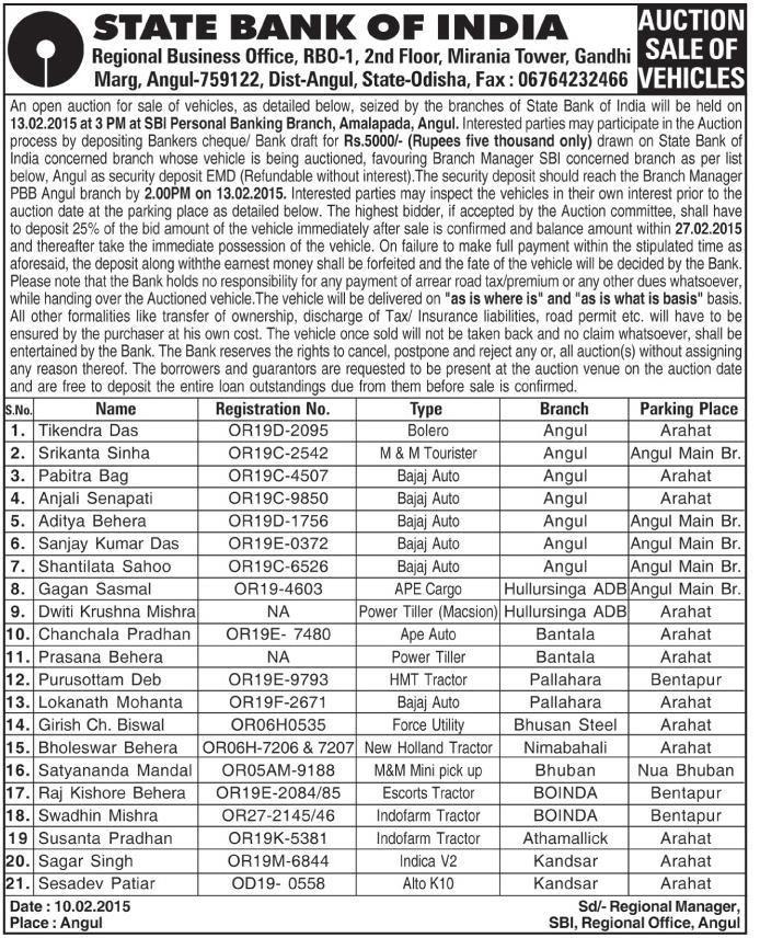 Auction For Sale Of Vehicle- Power Tiller, R.No-NA At Bantala ...