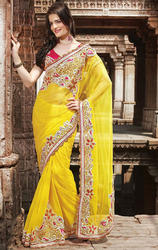Gold+Yellow+Color+Net+saree+with+Blouse