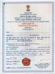 Government of India Recognized Export House