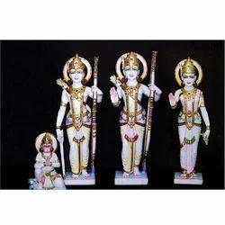 Ram Darbar with Hanuman In White Marble