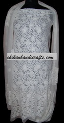 chikan white cotton suit with dupatta