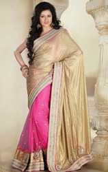 Beige+and+Pink+Color+Shimmer+and+Net+Saree+with+Blouse