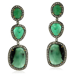 Pave Diamond Emerald Gemstone Dangle Earrings