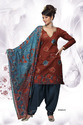 Brown Cotton Salwar Kameez With Dupatta