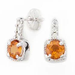 Orange Sapphire Diamond Earrings