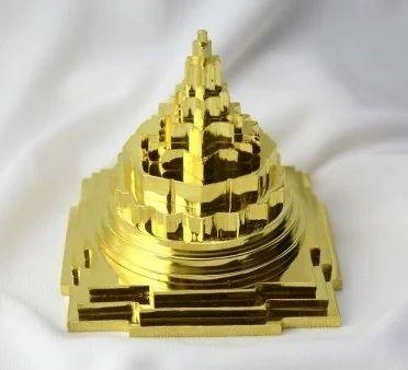 Panchdhatu Meru Shree Yantra 4inch ( 24 carat gold plated)