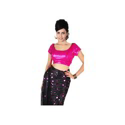 Sequined Pink Tie-Back Saree Blouse