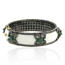 Diamond Pave Enamel Bangle Jewelry