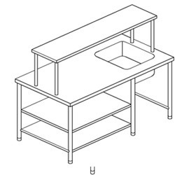 S.s.Work Table with Sink & 2 U/s & Ohs