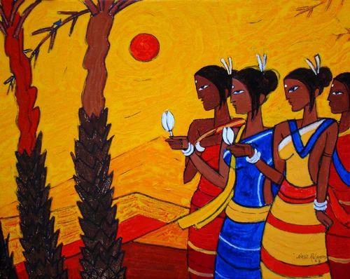 Canvas Painting Tribal Women Original Canvas Painting