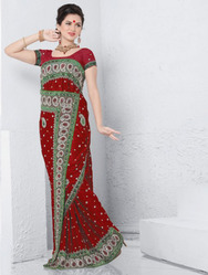 Red Designer Work Sarees
