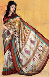Chikoo+Grey+Jacquard+Bhagalpuri+Silk+Saree+with+Blouse