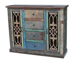 Salvage Colorful Wood Drawer Cabinet With Iron Grills