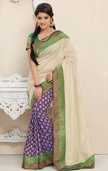 Cream+%26+Purple+Tissue+Net+and+Upada+Silk+Saree+with+Blouse