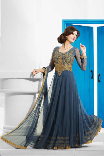 Mands Dresses For A Wedding : Navy party wear long net gown designer gowns ring road