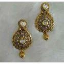Blue Kundan Small Earrings