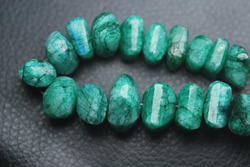 Green Moonstone Faceted Step Cut Nuggets Strand 9 inches