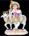 Marble Statue Krishna With Cow