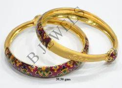 Gold Meena Bangles