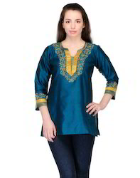 Peacock+Blue+Art+Silk+Kurtis+with+Embroidery+on+the+Neckline