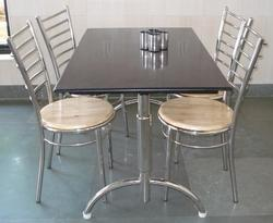 SS Dining Table with Fixed Chair