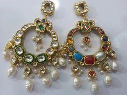 18k 24k Gold Kundan Both Side Wearable Danglers Earrings