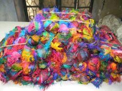 Multicolored Sari Silk Ribbon Yarns for Knitters, Weavers,