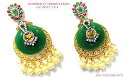 Antique Victorian Green Stone Earring