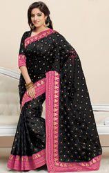 Black+Color+Jacquard+Saree+with+Blouse