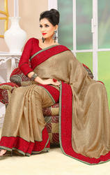 Cream+Color+Jacquard+Shimmer+Sarees+with+Blouse