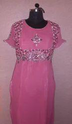 Pink Georgette Stone Work Kurti