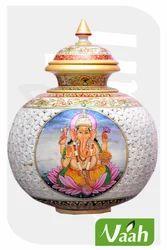 Vaah Marble Decorative Cut Work Big Ganesha Pot