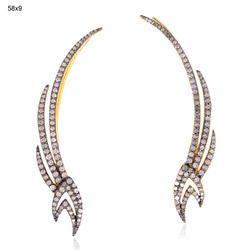 Pave Diamond Cuff Earrings