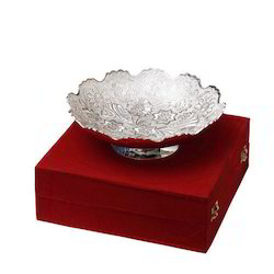 Floral Design Silver Bowl for Festival