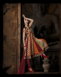 Readymade Anarkali Suit Orange Color