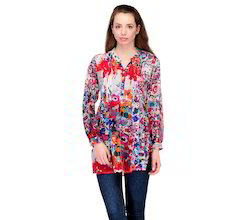 Multicolored+Printed+Chiffon+Tunic+with+Pleated+Front+Yok