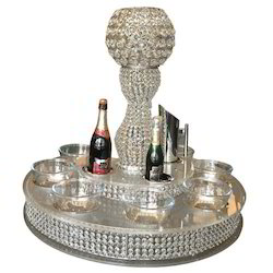 2-Tier Crystal Lazy Susan With Crystal Centerpiece