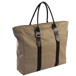 Leather Handle Canvas Tote Bag