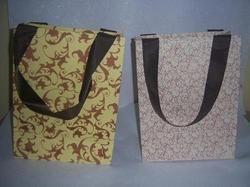 Silk Screen Printed Handmade Paper Bags with Ribbon Handles