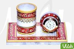 Vaah Marble Pen Stand with Clock