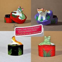 Handpainted Animal Shaped Paper Mache Boxes