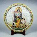 Marble Plate with Rajasthani Miniature Painting of Krishna