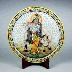 Marble Plate with Rajasthani Miniature Painting of Krishna