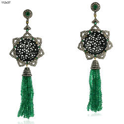 Carved Gemstone Emerald Tassel Earring Jewelry