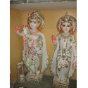 Beautiful Radha Krishana Gold-Plated Marble Statue